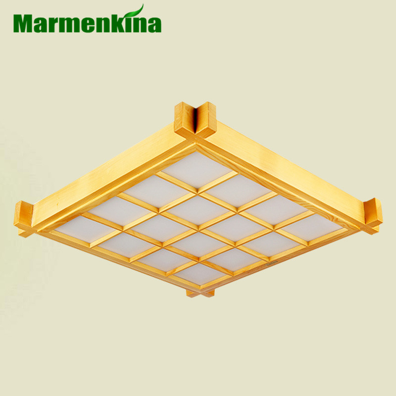 Marmenkina Japanese-style thin LED Ceiling lamp indoor light wood lamp living room bedroom paper Ceiling light AC85-265V japanese indoor lighting led ceiling light lamp square 45 55cm tatami decor led lamp wood paper restaurant living room hallway