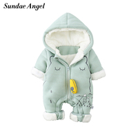 Sundae Angel Newborn Baby Winter Warm Rompers Hooded Thick Arctic Velvet Baby Girl Boys Romper Jumpsuit Infant Clothes 3 6 9 12