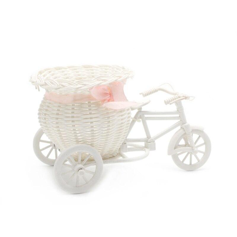 Ручной работы искусственного ротанга трехколесный велосипед Форма Цветочная корзина для хранения цветов расположение дома Свадебный деко...