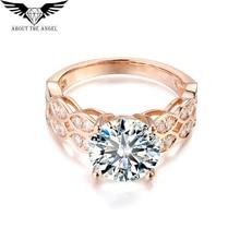 14K Rose Gold Ring/3.0ct Round Moissanite Diamond Ring/Facy Pink Gold Ring