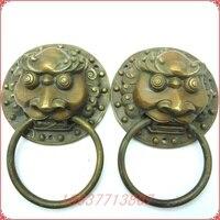 Bronze heurtoir de cuivre thrombolytique lion heurtoir pull anneau une paire de