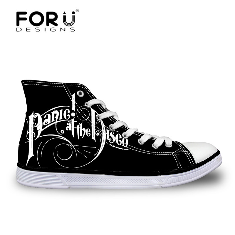 FORUDESIGNS New Fashion Men High Top Vulcanize Shoes Panic at the Disco Print Casual Autumn Male Canvas Shoes Boys Light Flats panic at the disco