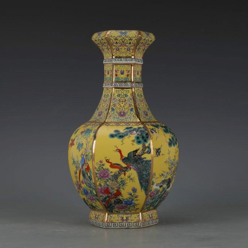 Luxe Chinois Classique Antique En Céramique Émail Fleur Vase Décoration de La Maison Belle Vase