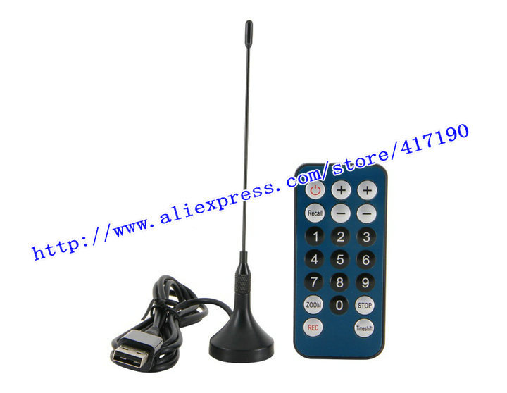 Free Shipping Mini DVB-T Digital TV Tuner USB Stick Receiver Recorder with Remote Antenna (Black)