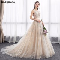 Vestido Novia A Line Wedding Gown Sexy See Through Embroidery Champagne Wedding Dresses Backless Lace Up 2018 Bridal Dress