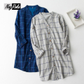 New spring 100% cotton women sleepshirts ladies long sleeve Plaid Fashion nightgowns casual mori girl night dresses for women