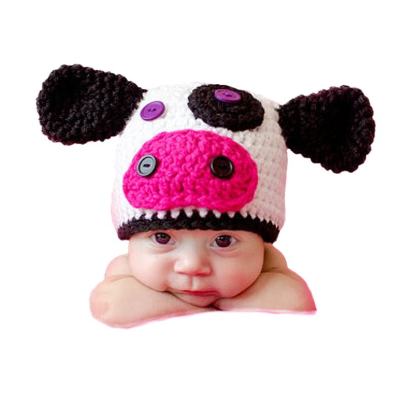 Newborn Baby Infants Cow Hat Crochet Knitted Cap Beanie Pure Handmade Costume Photography Prop