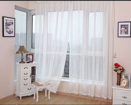 Modern One Piece 150cm*270cm Sheer White Voile Scarf Curtain Panel Sets Curtains  Extra Wide