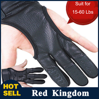 3 Finger Gloves Leather In Black High Elastic Hand Protection Archery Protective Gloves For Archery Hunting