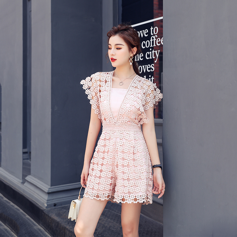 European streetwear Sexy Women playsuits Cap sleeve hollowed out lace sweetheart.Cute sweat suits