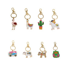 SANSUMMER Bus Cactus Animal Ostrich Unicorn Horse Cattle Funny Trendy Sporty Casual Personalidad Key Chains 5594