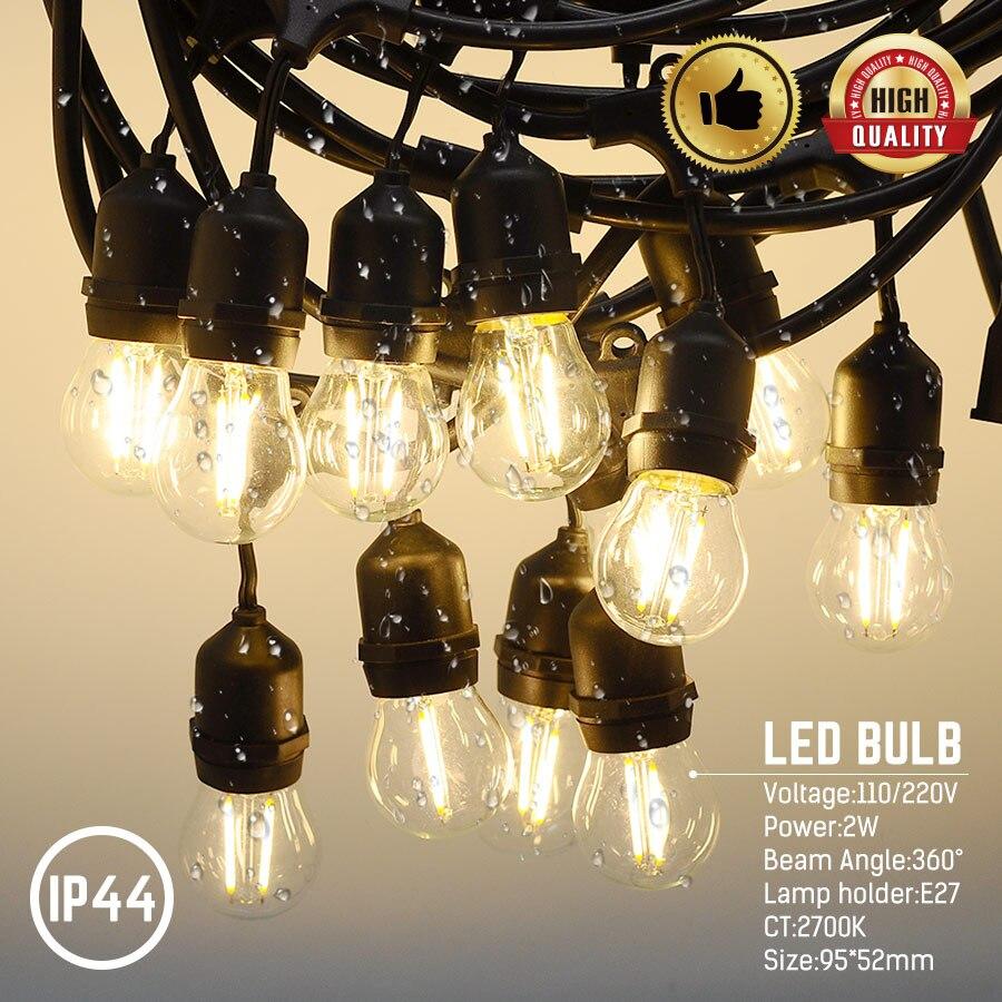 Jardin noël lumière lampes de mariage décoration extérieure chaîne lumières 15*2 W E27 110 V/220 V LED étanche lampes éclairage de vacances - 4