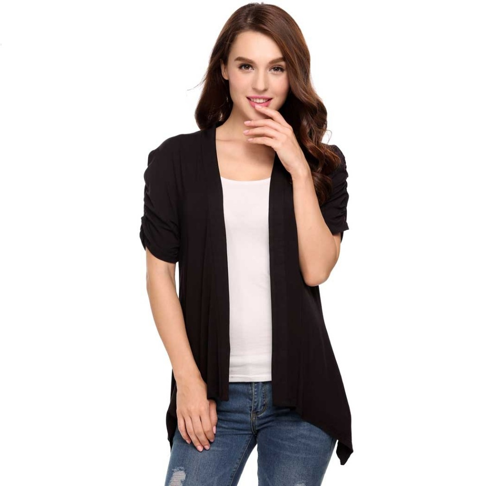 LETEOO Women Cardigan Kimono Summer Korean Open Stitch Ruched Puff ...