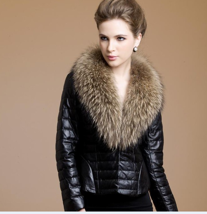 Faux Fur And Leather Coat