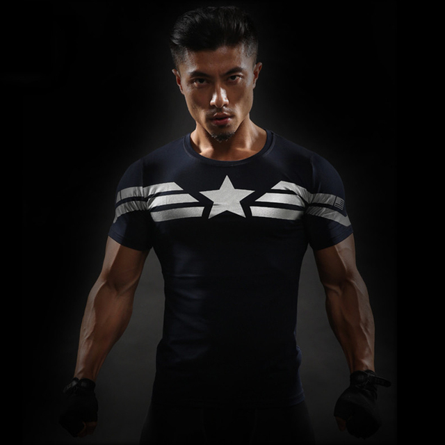c01c9f12e3 Crossfit 3D T Shirt Dos Homens de Manga curta T-Shirt Masculino Tee Capitão  América