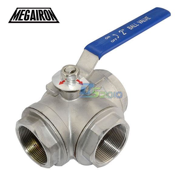 MEGAIRON 1.25 1-1/4 DN32 3 Way  BSPT SS316 Type L Female Mountin Pad Ball Valve Pipe Fittings Vinyl Handle WOG1000 1 1 4 dn32 female stainless steel ball valve 3 way 316 screwed thread manual ball valve handle t port gas oil liquid valve