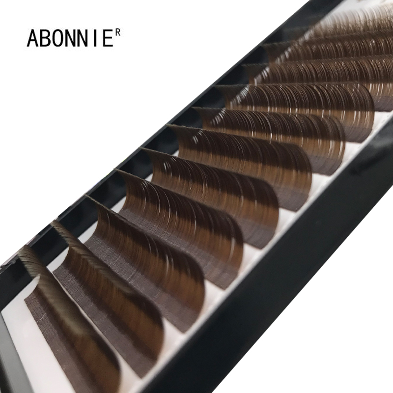 Abonnie Individual False Dark Brown Eyelashes Natural Eyelash Extension Colored Mink Lashes Extensions Easy Fan Lash 0.07/0.10