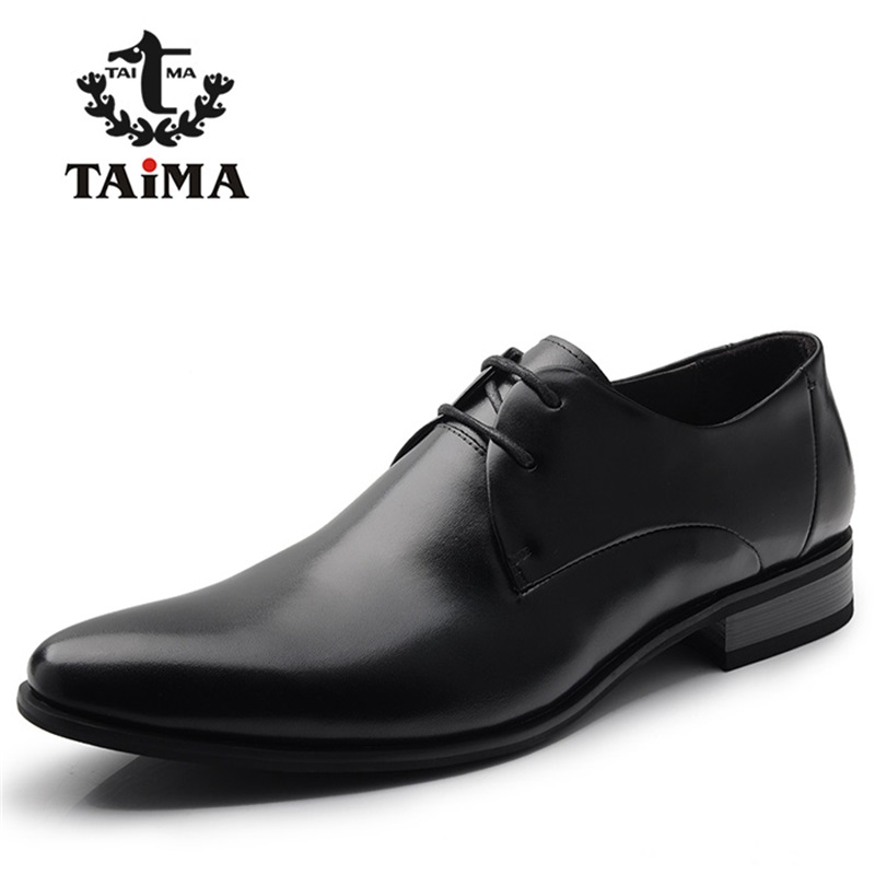 Aliexpress.com Comprar 2016 Moda 100% Cuero Genuino de Los Hombres Zapatos de Vestir de Lujo Zapatos Ocasionales de Negocio de Los Hombres Clásicos Zapatos