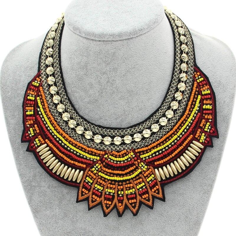 f38bc3021ead MANILAI de moda hecho a mano étnico gargantilla collar babero Collares  Multicolor cuentas declaración Boho Collares de joyería de las mujeres  Accesorios en ...
