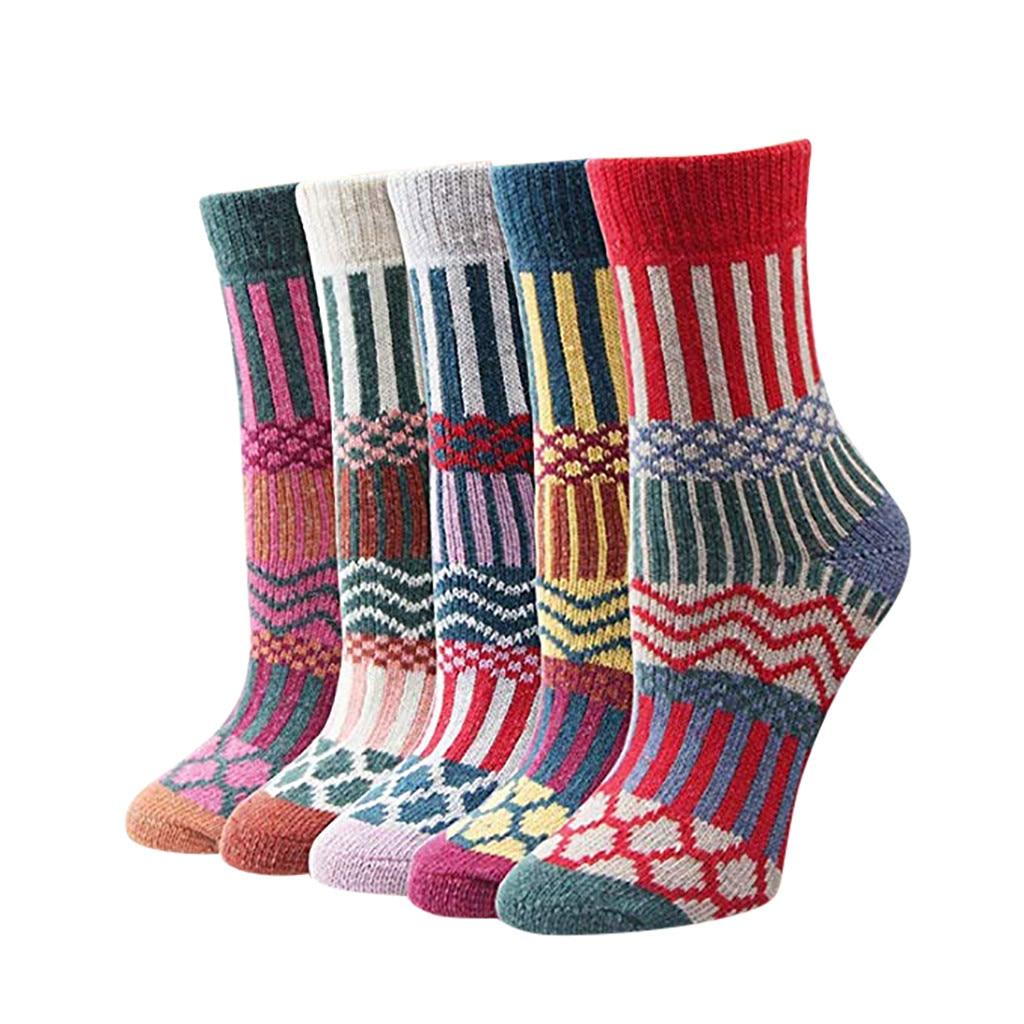 JAYCOSIN 5 пар, Женские винтажные полосатые зимние носки, подростковые носки из мериносовой шерсти, шерстяные толстые термоноски, художественные женские носки 9031418|Носки| | АлиЭкспресс