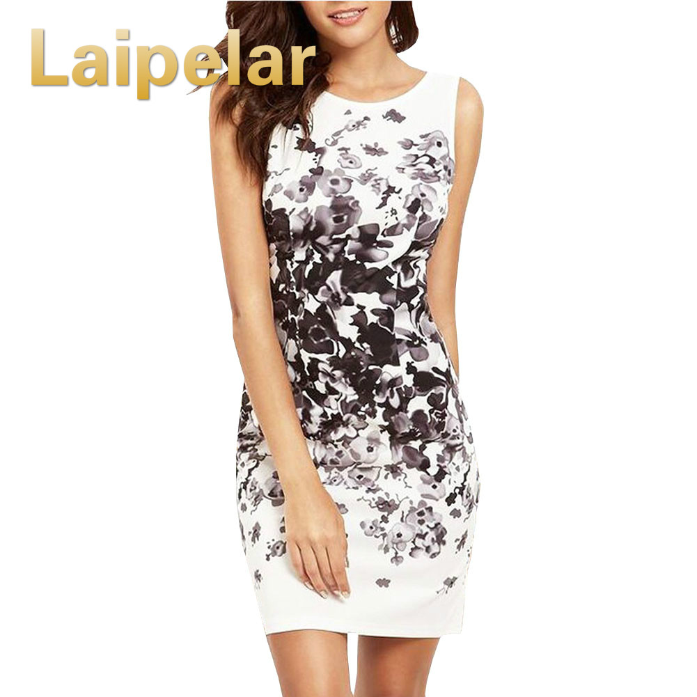 Laipelar <font><b>2018</b></font> <font><b>New</b></font> <font><b>Women</b></font> Pencil <font><b>Dress</b></font> <font><b>Sexy</b></font> Bodycon <font><b>Dresses</b></font> Female Watercolor Robe White <font><b>Sleeveless</b></font> Vintage Print Mini <font><b>Dress</b></font> image
