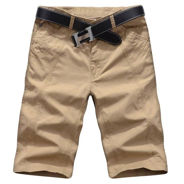 Shorts Men 2016 New Fashion Men Shorts Loose Casual Solid Bermuda Masculina Cotton Beach Trousers Knee Length Shorts 29-44 mma60
