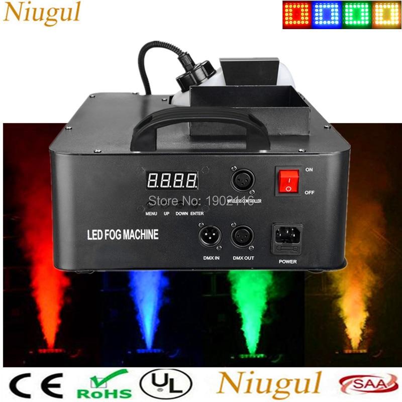 1500W Mist Haze Machine 2.5l Fog Machine with 24X3W RGB LED lights DMX512 and Wireless Remote Control LED Smoke Machine Fogger