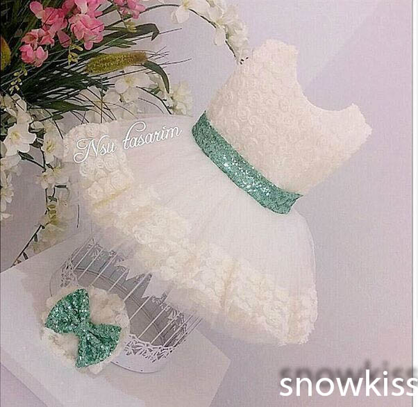 Elegant 3D Flower Lace Knee-Length flower girl dresses with mint Green Bow baby Birthday Party Dress wedding occasion ball gowns vintage emerald green backless flower girl dress with golden sequins knee length short baby 1 year birthday gowns with big bow