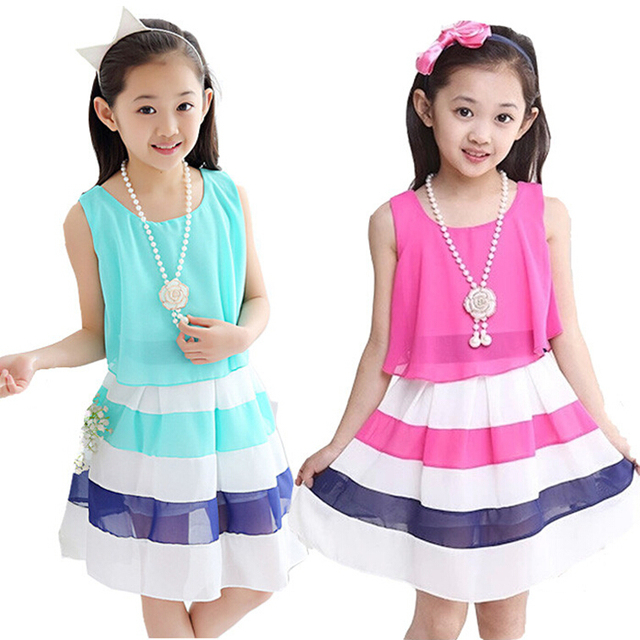 2018 summer 4-15 years kids dress for girls striped chiffon princess dresses children vestido menina teenage girls clothes 143D