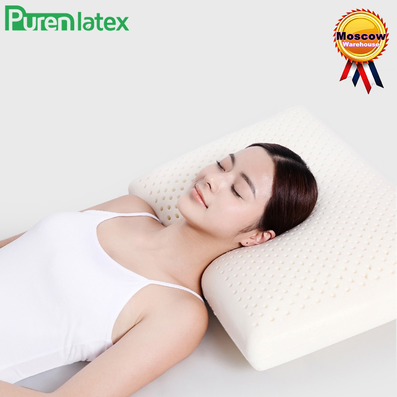 PurenLatex 60x40x11 Thailand Natural Latex Orthopedic Massage Pillow Neck Cervical Spine Protected Remedial Big Vertebrae Pillow Подушка