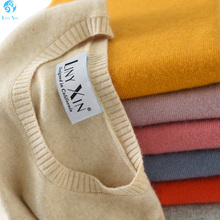 100% Suéter de Cashmere para As Mulheres Moda 2017 Novo Inverno Quente Crewneck Manga Comprida Pullover Sweater
