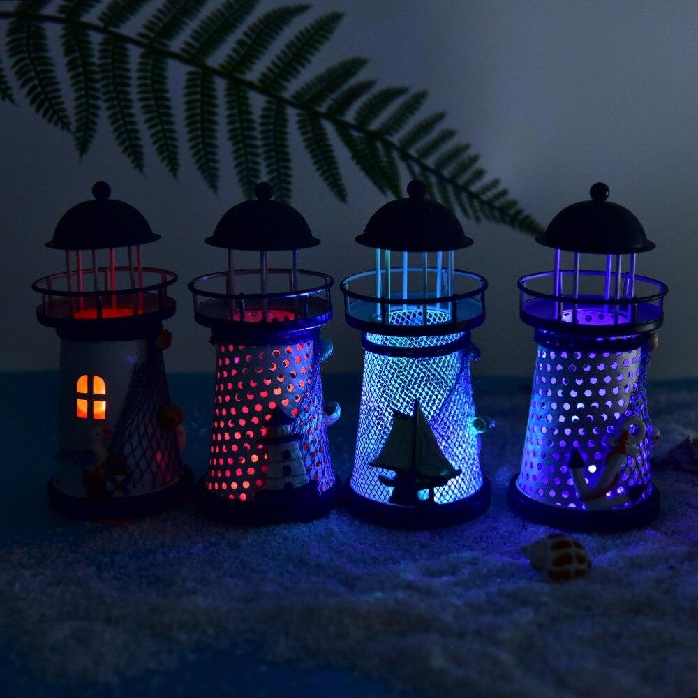 1pcs LED Light Metal Vintage Openwork Ocean Lighthouse Anchor For Home Room House Wedding Decor Novelty Lighting
