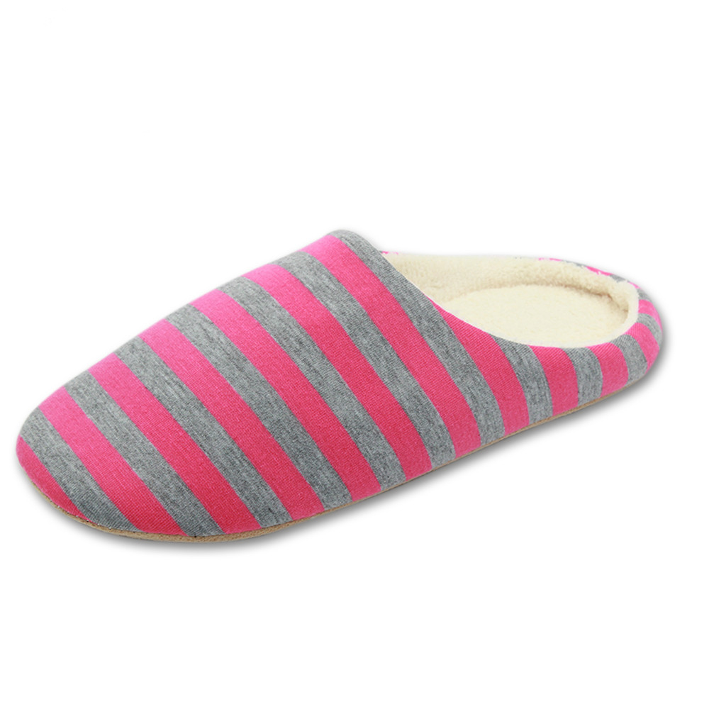 Striped Soft Bottom Home Slippers Cotton Warm Shoes Women Indoor Floor Slippers Non-slips Shoes For Bedroom House AB313 home slippers soft plush cotton cute slippers shoes non slip floor indoor house home fur slippers women shoes for bedroom