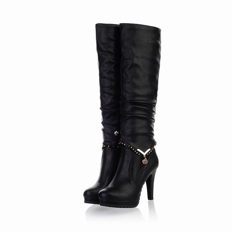 Mujer Beige 2 Altos La Botas Mujeres Con Tacones Tipos Hasta Rodilla Maneras Las negro Zapatos Impermeable Cuero Plantform ZqBSZfw