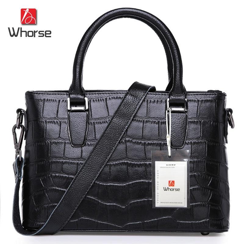 ФОТО [WHORSE] Brand Logo Crocodile Pattern Women Handbag Genuine Leather Super Star Womens Shoulder Bag Serpentine Messenger Bags