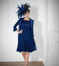 2016 mutter Der Braut Kleider A-linie Knielangen Royal Blue Lace Abendkleider Mit Jacke Mutter Kleider Für Hochzeiten
