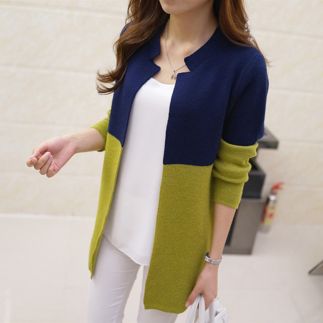Korean version of the new long - sleeved suit collar sweater women  s  cardigan long 9bf96d4aa