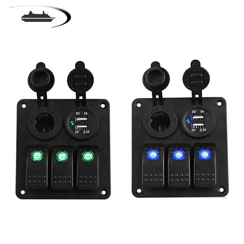 LED 3 Gang Rocker Switch Panel Power Socket 3.1A Dual USB Kabel Kit dan Stiker Label DC12V 24 V untuk Marine Perahu Mobil