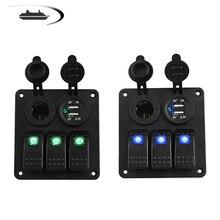 LED 3 Gang Kippschalter Panel Steckdose 3,1 EIN Dual USB Verdrahtung Kits und Aufkleber Aufkleber Etiketten DC12V 24V für Marine Boot Auto