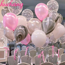 transparent printed star latex balloon gray agate white pink confetti tassel wedding decoration birthday p