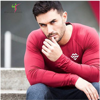 2017 Mens Compression Long Sleeve Quick Dry Gyms T Shirts Bodybuilding Weight Lifting Base Layer