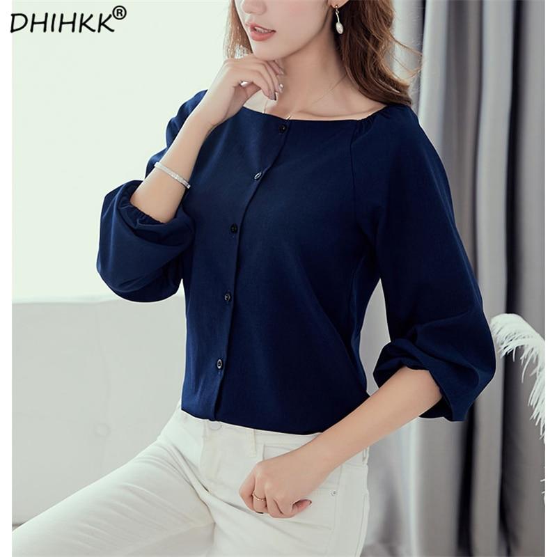 0dc20085114 DHIHKK Elasticity Shoulder Design Navy Blue Blouse Shirt Women New Arrivals  Spring Autumn Office Ladies Elegant