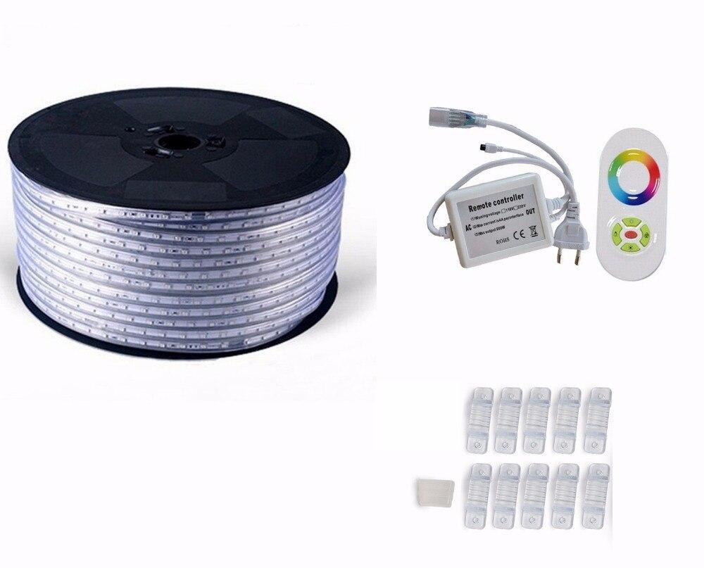 220 V 110 V Светодиодные ленты 5050 50 м 100 IP67 Водонепроницаемый RGB двойной Цвет веревка для наружного освещения с радиочастотным пультом дистанционного управления - 3