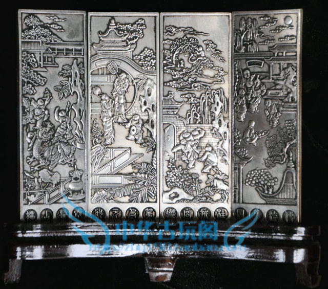 Chinese Boutique collection Tibetan silver carving folding screen