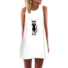 6194921d83c Cat Dress Girls White Casual Autumn Femme Ukraine Kawaii Summer Dresses  Sexy Women O-neck Sleeveless Beach Dress Vestidos 2018