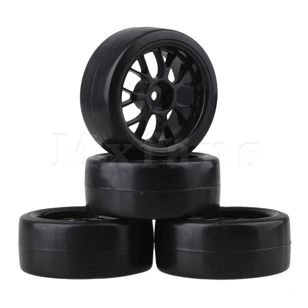 Mxfans 4pcs Smooth Tires & Wheel Rim for RC 1: 10 On-Road Racing Car & Drift Car Black 1 10 rubber on road racing car model replacement tire black 4 pcs