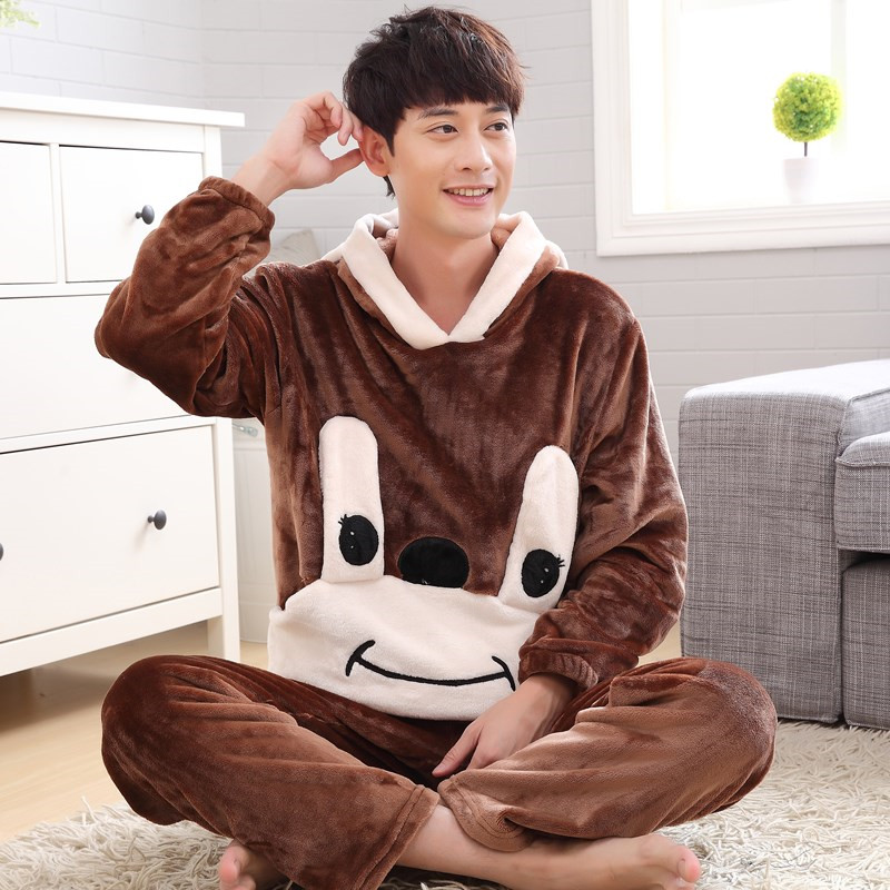Autumn And Winter Men Thick Flannel Pajamas Sets Plus Size S-4XL 5XL 6XL  Sleepwear Male Cartoon Coral Fleece Lounge Set