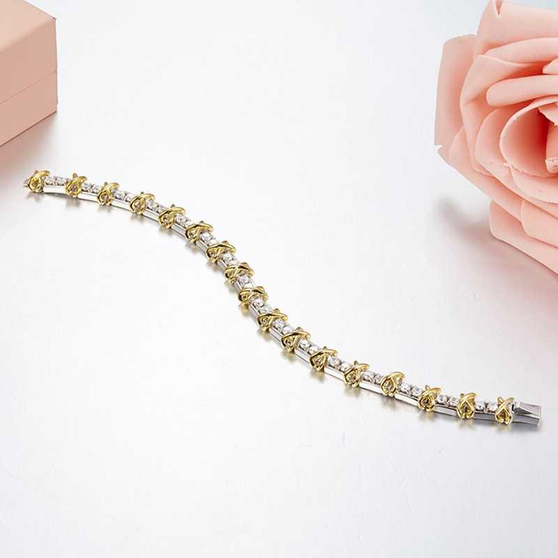 Роскошный золотой крест 2 тон 925 пробы серебряный шарм браслет простой дизайн Для женщин браслет Для женщин женских свадебных туфель рождественские украшения