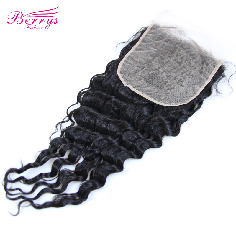 Lace Closure Human-Hair-Extensions Wave Brazilian-Hair Berrys Fashion Transparent Prepluncked