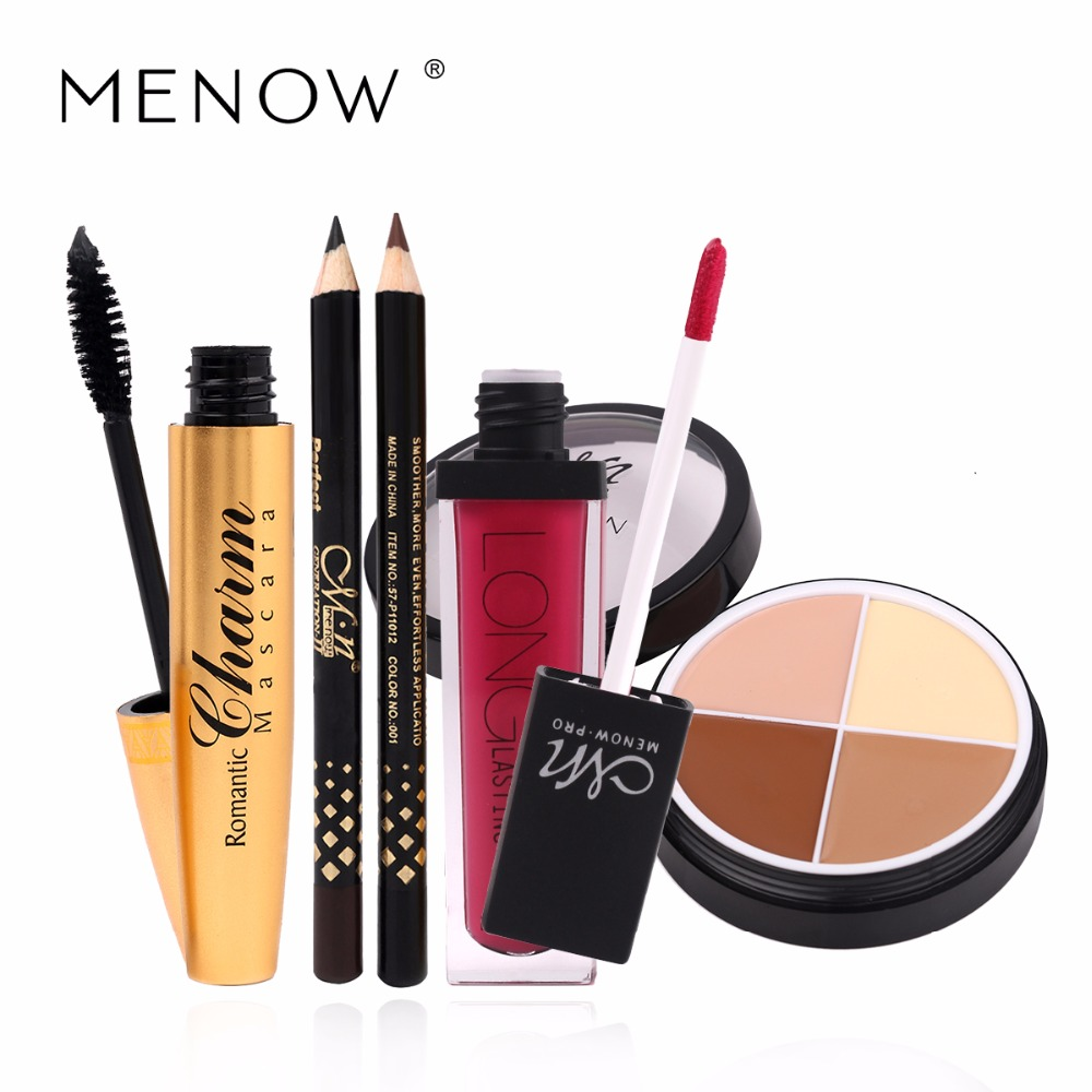 Menow Brand Makeup Set Lasting moisture Lip gloss+Concealer Foundation+Thick and slender Mascara Value Combination Cosmetic 4192